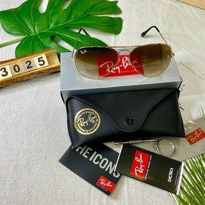 NWT RB3025 Progressive Khaki Aviators Sunglasses 58mm